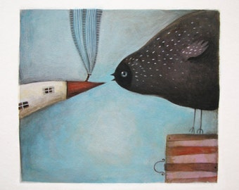 House for lunch bird painting-original watercolor painting- original painting of a bird