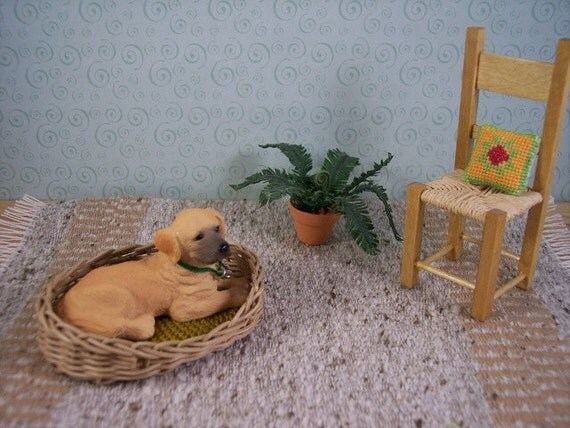 miniature dog basket 1 inch scale