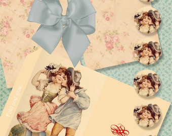 VINTAGE VALENTINE NOTES - Printable Digital envelopes and vintage note cards in two sizes 872s