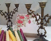Vintage Small Pair of Three Tear Ornate Candle Holders and Candles - at KonniesPlace