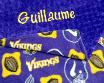 Personalized Minnesota Vikings Football Fleece and Minky Baby Blanket