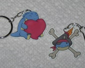 SALE - Adorable Plastic Quaggan Lanyard/Keychain/Phone Charm - Your Choice of Pirate or Heart