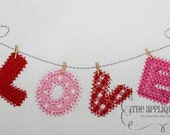 Valentine's Day Love on the Line Digital Embroidery Design Machine Applique