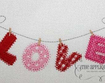 Valentine's Day Love on the Line Digital Embroidery Design Machine Applique