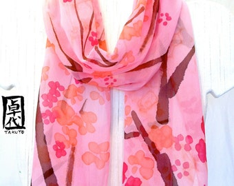 Hand Painted Pink Silk Scarf, Pink Floral Scarf Pastel Pink Plum Blossoms. Silk Chiffon Scarf. 11x58 inches. Made to Order.