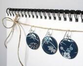Handmade Resin Earrings Japanese Design Blue - Large Circle