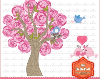 Instant Downloads, Valentines Hot Pink Rose Tree and Birds ClipArt, For Handmade Crafts Projects. Personal and Small Commercial Use. BP 0739