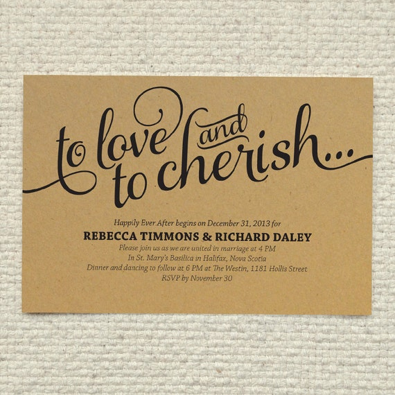 Diy Kraft Paper Wedding Invitation Love