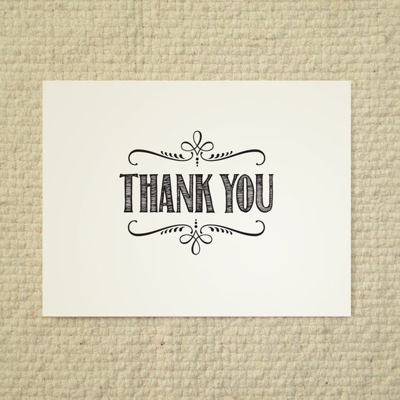 Diy Thank You Card Handlettered Rustic Love By