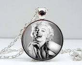 Marilyn Monroe Necklace - Laughing - Glass Art Pendant Picture Pendant Photo Pendant (1399)