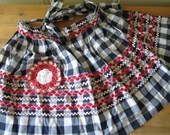 A Vintage Lot - Black and White Gingham Apron and Crocheted Pot Holder
