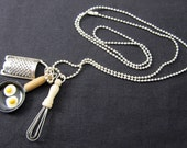 Kitchen Necklace Miniblings  Pan Whisk Grater Cooking Food Egg Chef