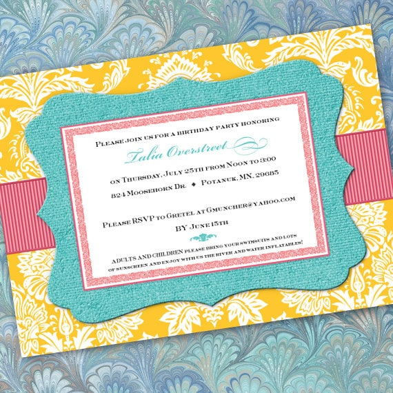 birthday party invitations, sunshine yellow and turquoise party invitations, turquoise and pink party invitations, aqua bridal shower, IN205