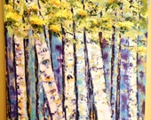 OIL PAINTING Imagination Forest... Abstract birch trees