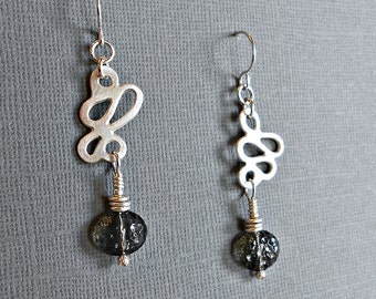 Sterling Silver Squiggle Earrings with Vintage Gray Glass