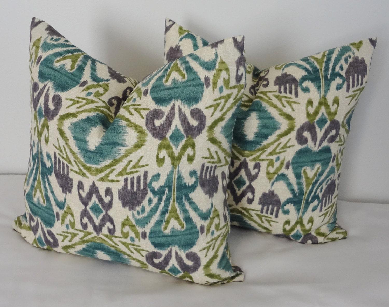OUTDOOR Ikat Lime Green Purple Teal Indoor/Outdoor Pillow