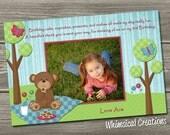 Teddy Bear Picnic Thank You Card  (Digital File) I Design, You Print