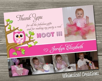 Owl Thank You Card (Digital File) - I Design, You Print