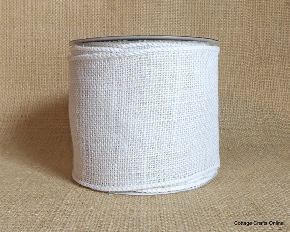 Burlap Wired Ribbon 4 White Natural Jute By