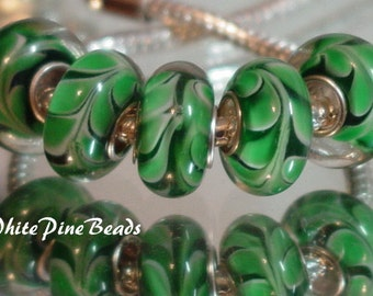 Green and White Swirls Handmade Murano Lampwork Glass Bead Fits European  Charm Bracelets