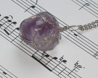Purple Fluorite wire wrapped pendant