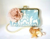 Something Blue Beach Wedding Bridal and Bridesmaid Clutch Purse- Blue Damask