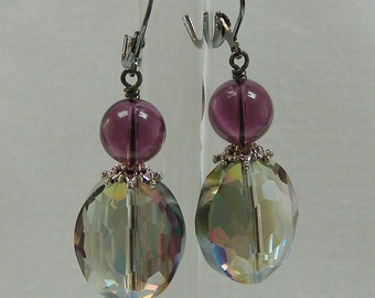 Faceted Purple and Green Crystal Earrings