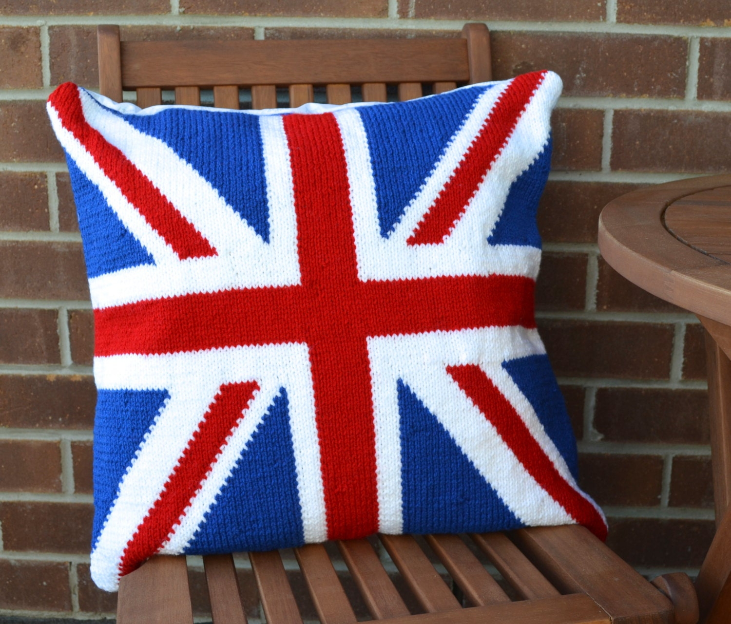 Free Knitting Pattern For Union Jack Cushion Cover : Union Jack Flag Knitted Pillow Cover by AndreasDyelotDesigns