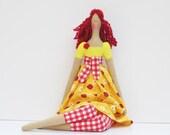 Fabric doll in bright yellow dress red hair cute cloth doll art doll stuffed doll, rag doll  birthday gift for girls