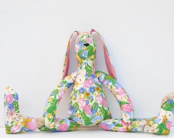 Easter bunny softie plush stuffed bunny hare rabbit  - cloth bunny toy - child friendly toy pink green blue Easter gift for boy and girl