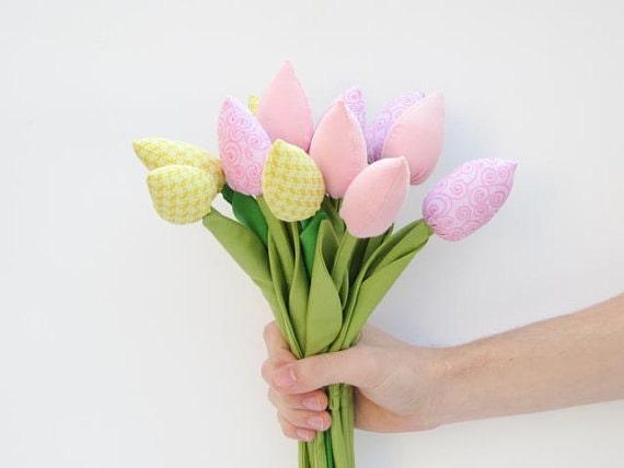 Custom listing for Lydia - dozen of spring flowers tulips in orange,yellow,white and polka dot