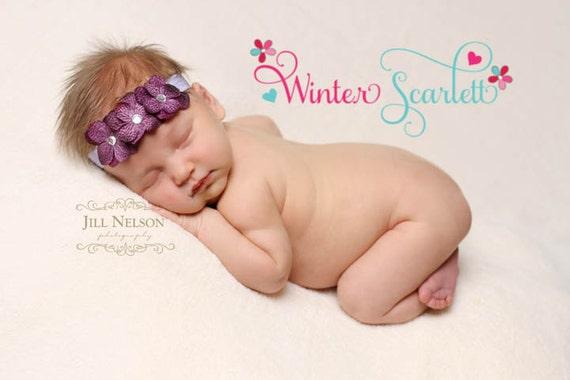 20% off entire order...Hydrengea flower headband Newborn Headbands..Baby Headbands...Infant Headbands. Flower Headbands