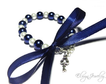 Child Pearl Bracelet, Flower Girl Bracelet, Navy Blue and White Wedding, Kids Pearl Jewelry, Navy Blue Pearls, Navy Ribbon, Baby Girl Gift
