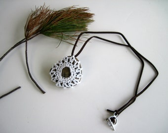 Crochet Lace Covered Stone Pendant Necklace - In White - Design 3