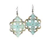 Light Teal Hand Painted Filigree Cross Earrings