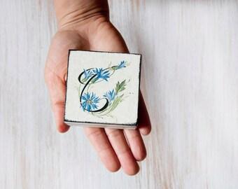 Customisable Wedding Ring Pillow, Beige Blue Ring Bearer box, Wedding box ,Treasury Box , Jewelry box ,  Customizable Letter, ohtteam