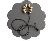 Gold black tiny necklace - polymer clay flower - grey, rustic - contemporary, minimalist, statement