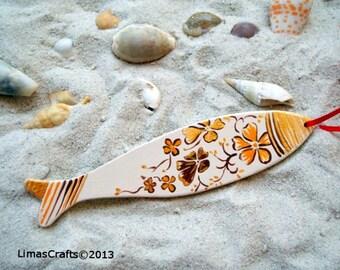 Wooden Fish,Home Decorative Fish,Nursery Decoration,Nautical Decoration,Fish Artwork,Orange Fish,Baby Shower Decoration,Nautical Artwork