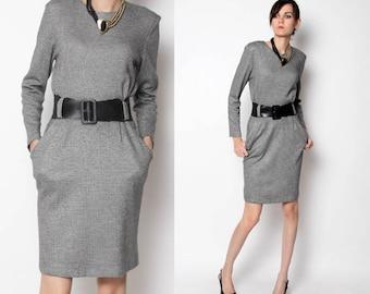 Vintage 80s 90s Mod Wiggle Dress / Plaid Dress / Black White / Rockabilly