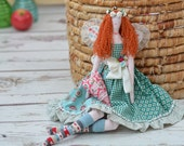 Flower Fairy doll Turquoise Blue Green dress with red hair and pink heart Valentine