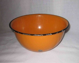 Neat Vintage Orange GRANITE WARE Bowl