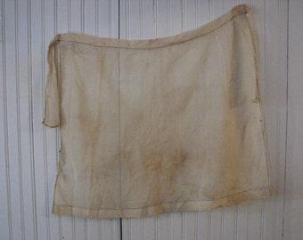 antique 1800's primitive delicate gauzy apron hand stitched