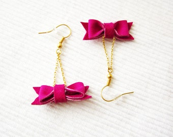 Pink bow earrings, Leather bow earrings, Pink dangle earrings, Magenta bow earrings, Small bow earrings, Cute bow earring, Earrings bow girl