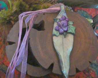 Polymer Clay Large Leaf & Violet Pendant