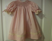 Mauve Rose Smocked Bishop and Bloomers 6mths-18mths-Special  Order