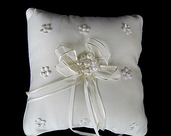 Ivory Wedding Ring Pillow Bearer with Pearls
