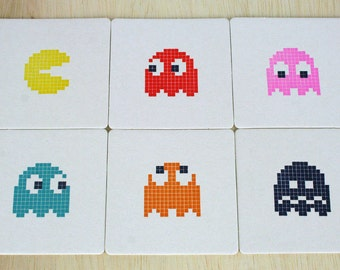 Pac-Man Letterpress Coasters - Set of 6