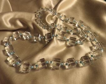 Vintage Square Cut Crystal and Bead Necklace, Vintage Jewelry, Crystal Necklace, Beaded Necklace