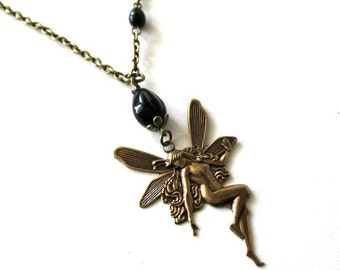 Fairy pendant necklace jewelry black Czech teardrop beads antique brass bronze vintage victorian style medieval steampunk fairy necklace