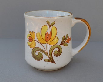 Vintage Ceramic Mug with Abstract Yellow Flowers Japan